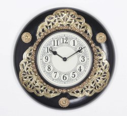 Wooden and Brass Fitted Wall Clock, For Office, Size: 12x2x12 Inch