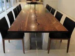 Wooden, Epoxy Brown Designer Center Table