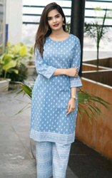 Casual Wear 3/4th Sleeve Ladies Designer Cotton Kurti, Wash Care: Handwash