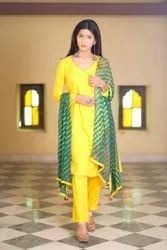 K&E Rayon Ladies Canary Yellow Angrakha Pant Suit, Dry clean