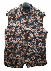 Cotton Blend Floral Printed Nehru Jacket
