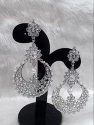 Silver Brass Party Wear Earrings