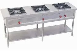 Stainless Steel LPG 3 Burner Commercial Gas Stove, For Hotel, Size: 72 X 24 X 34