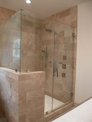 Hinged Plain Glass Shower Door, For Home, Thickness: 12 Mm