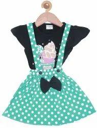 Printed Cotton Kids Girl Casual Wear Dress, Machine wash