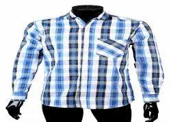 JPND Collar Neck Mens Blue Cotton Checkered Shirts