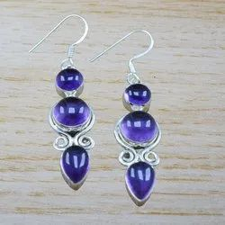 Amethyst Gemstone 925 Sterling Silver Jewelry Earring WE-3526