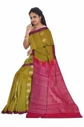 Party Wear Olive Narayanpet Pure Silk Butta Saree, With blouse piece, 6.3 m