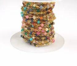 Multi Stone Handmade Gold Plated Beaded Rosary Chain
