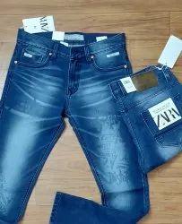 Printed Regular Fit Blue Branded Men Denim Jeans
