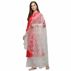 Ladies Dyeable Embroidered Net Fabric