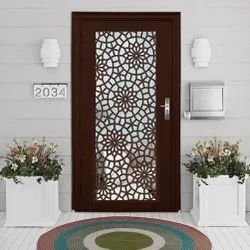 Prime Gold Powder Coated CNC Decorative Door, Thickness: 45 Mm