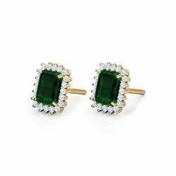 Arihant Creators 0.20Tcw VVS-VS/EF Color Lab Grown Diamonds Stud 18Kt Yellow Gold Gemstone Earring