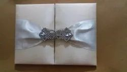 Book Style Fabric Feather Invitation Card