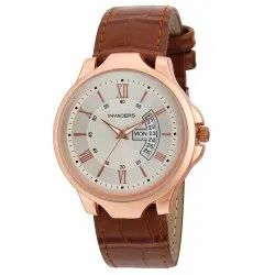 Be Invaders Analog Day And Date Copper Brown Strap Mens Watch