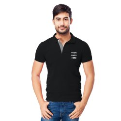 JOHN CARMEN Office Male Black Collar T Shirt - Corporate Uniform Tshirts