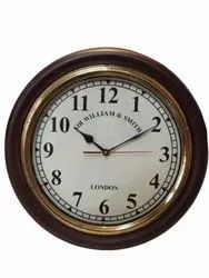 Brown Mechanical B - 206 Round Wooden Brass Wall Clock, For Office, Size: 16 Inch