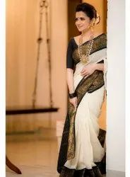 White Party Wear Stylish Saree, 6 m (With Blouse Piece)