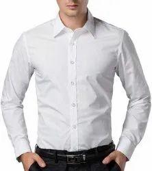 Cotton Plain Men White Formal Shirt, Handwash