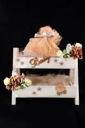 Wooden White Baby Announcement Gift Basket, For Gifting
