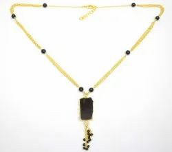Black Onyx Moonstone Beaded Chain Necklace With Gold Plated