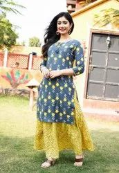 Party Wear Straight Ladies cotton kurti skirt set, Wash Care: Machine wash