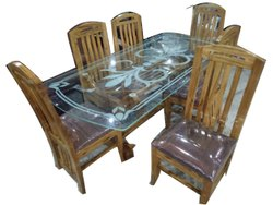 Rectangular Brown Wooden Glass Dining Table Set, For Home