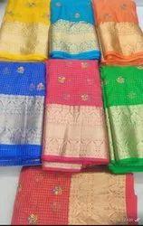organza check saree