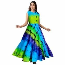 Printed Rayon Formal Evening Dresses, Size: Free Size