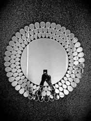Round Venetian Glass Mirror, Size: 2x2 Ft