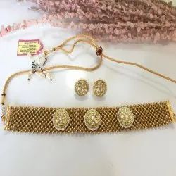 R-Chie Creations Brass,Pearls Kundan And Pearl Traditional Golden Nacklace, Box