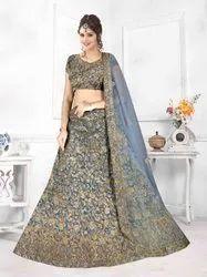 Party Wear Semi Stitched UK.0415 Grey Ladies Designer Lehenga, 2.5 M