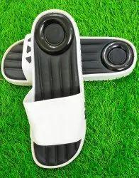 Black, White Rubber Men Black Flip Flops Slipper, Size: 9