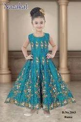 Silk Kids Blue Churidar Suit, 7 To 10 Yrs