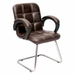 Brown Synthetic Leatherette Visitor Chair