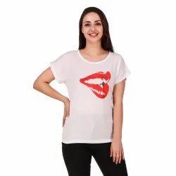 Half Sleeve Round Ladies White Printed T-Shirt