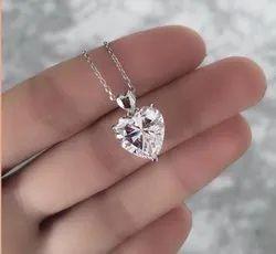 5 Carat Solitaire Moissanite Diamond Necklace For Women, Heart Necklace, Diamond Pendant Necklace