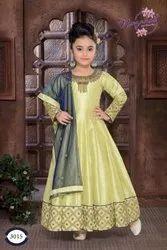 Green Silk Kids A Line Churidar Suit