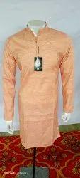 Men Orange Cotton Kurta