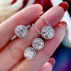 Diamond Jewelry Set Real 925 Sterling Silver Engagement Wedding Rings Earrings Necklace For Women