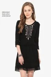 Black Cotton Embroidered Dress