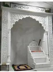 Outdoor Traditional White Marble Masjid Qibla