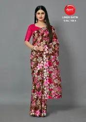 Flower Printed Saree Satin patta saree