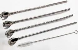 4 set of Drinking Straws with Attached Spoon Stainless Steel