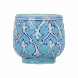 Ceramic GoBamboos Decorative Blue Art Pottery Cup 3 inches, For Drinking Tea