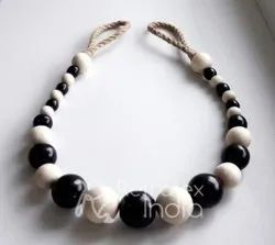 Black And White Wooden Bead Curtain Tieback