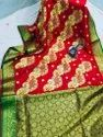 Red And Green Party Wear Satin Embroidered Sarees, 6.3 M (with Blouse Piece)