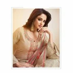 Casual Ladies Cotton Embroidered Suit