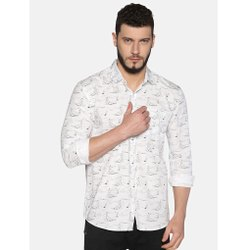 AKR Industries White UrGear Mens Slim Fit Cotton Printed Shirt