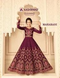 Aashirwad Creation Gulkand Maharani Pure Silk Gown Type Salwar Suit Catalog